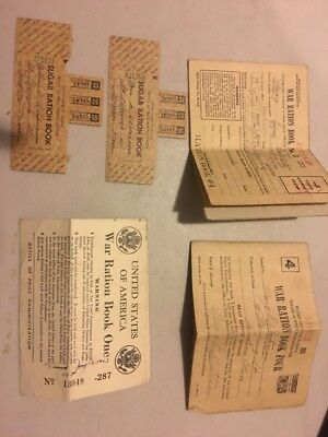 WWII / WW2 War Ration Book Lot w/ Stamps Vintage, Sugar
