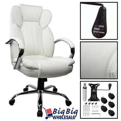 Executive Office Chair Swivel PU Leather High Back Desk Task Computer [White]