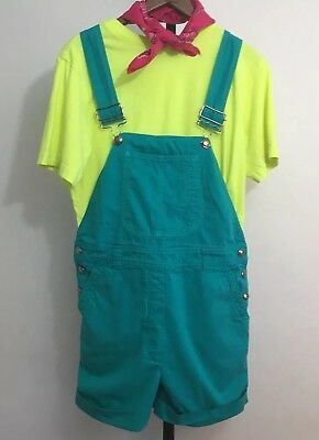 Vintage United Colors of Benetton Womens Shortall Sz 42 US 8 Teal Green Italy