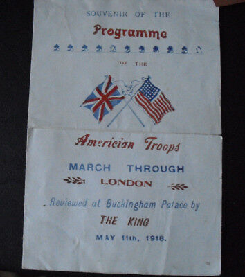 Vintage 1918 Program American Troops WWI March Through London