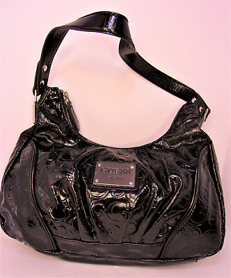 Daring Guess Glossy Black Patent Ruched Leather Medium Shoulder Hobo Purse