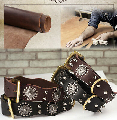 New Top Quality Handmade Pet Dog Collar Genuine Real Leather Spiked Dog Collar