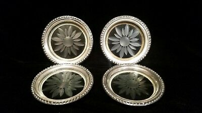 Vintage Sterling Sliver and Cut Crystal Coasters - Set of 4