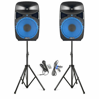 "Vonyx 178.135 VPS152A Plug & Play 15"" 1000W Speaker Set with Stands"