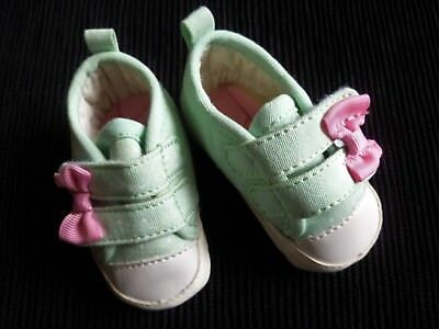 Baby clothes GIRL newborn 0-1m shoes/trainers aqua/pink bows 9.5cm soft padded