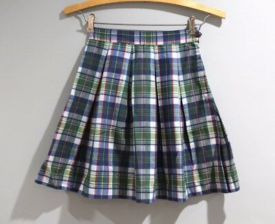 Vintage Girls Size 8 Plaid Pleated Skirt School Girl Home Made 70s Blue Green