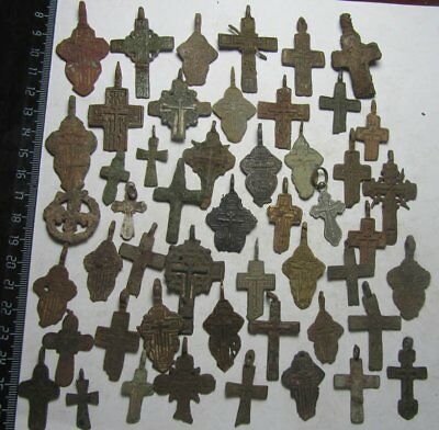 Metal detector finds.Mix lot   ancient crosses  50 pieces. N7