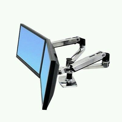 Ergotron SIDE BY SIDE desk mount Monitor Stand 2 arm dual Display bracket LCD