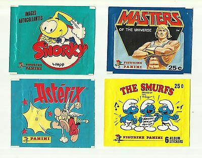 PANINI Lot 10 EMPTY Packets WRAPPERS Masters Transformers Conan Asterix Smurfs