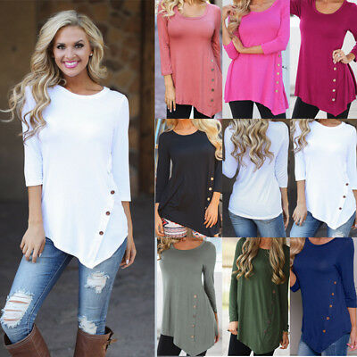 AU Plus Size Womens Loose Long Sleeve Irregular Top Ladies Button T-Shirt Blouse