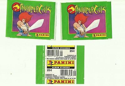 1986 PANINI Thundercats 3 EMPTY Packets WRAPPERS