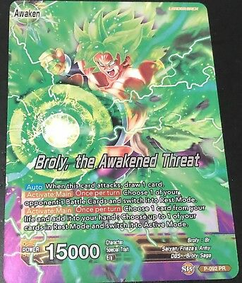 Dragon Ball Super Card Game Broly The Awakened Threat P-092 Leader! FAST SHIP!!!