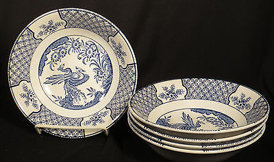 Wood & Sons England Yuan Bird Chinoiserie Blue Set 5 Coupe Cereal Bowls 6 3/4""
