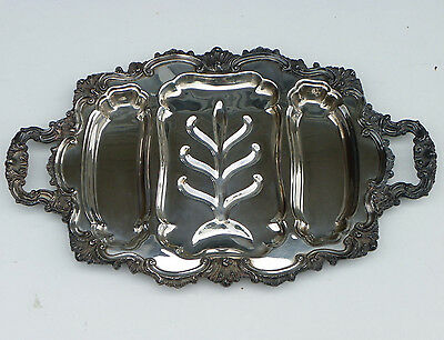 """Vtg 23 1/2"""" Silverplate 2-Handled Meat Platter Tray-3 Wells-Ray E Dodge-Tree Ctr"""