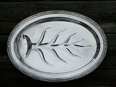 """Vtg 15 1/4"""" Silverplate Footed """"Tree"""" Meat Platter Or Tray-Reverie-Crown #4275"""