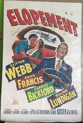 "Elopement, Movie Poster, 1951, Clifton Webb, Anne Francis, 27"" x 41"