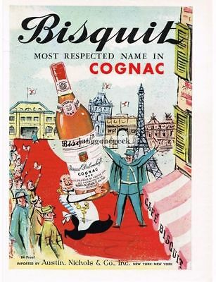 1959 BISQUIT Cognac  French Paris art by F. DARLING VTG PRINT AD