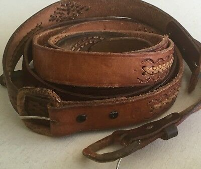 Tooled Braided Leather Belt Belts LOT OF 3 Brown Western Rugged Distressed
