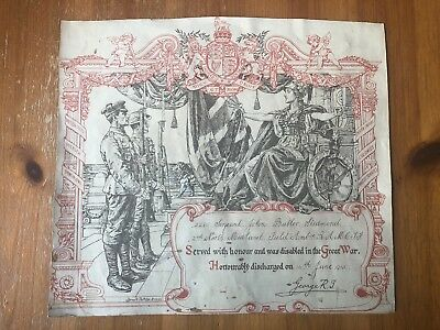 WW1 British Discharged Certificate GREAT WAR