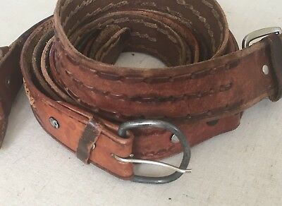 Tooled Braided Leather Belt Belts LOT OF 4 Brown Western Rugged Distressed