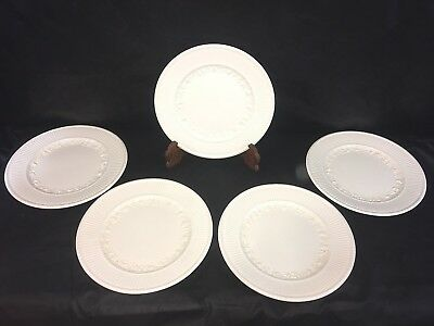 Wedgwood QUEENSWARE Embossed White DINNER PLATES Lot Set x 5 Vintage Circa 1920s