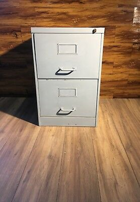 A Vintage Industrial Grey Metal  Drawer Filing Cabinet