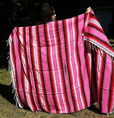 "Mexican Serape Sarape Fringed Blanket Bedspread 84"" x 60"" Pink Black White Red"