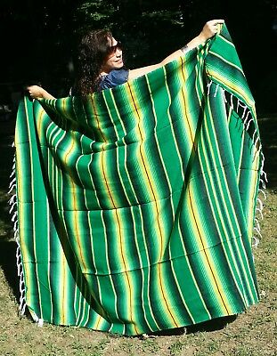 "Mexican Serape Sarape Fringed Blanket Bedspread 84"" x 60"" Lucky Green"
