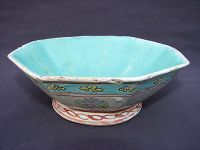 """6"""" Antique Chinese Hand Painted Turquoise Famille Rose Earthenware Pottery Bowl"""