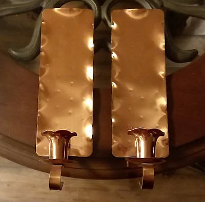 Pair Glencroft Copper Wall Candle Holder Sconces Candleholders Handmade Roycroft