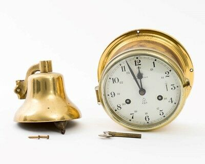 Vintage Royal Mariner Nautical Brass Ship Clock with Key and Bell Ready to Mount
