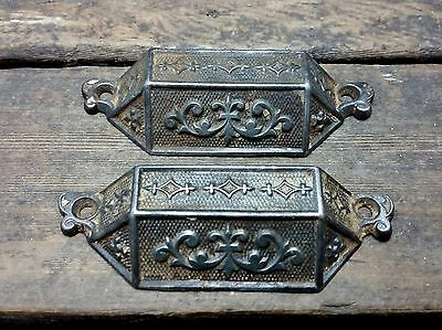 "2 VTG Old 1869 PATD Fancy Bin Pull Handle Rustic Apothecary Desk Dresser 3 5/8""C"