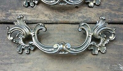 """ONE Vtg ORNATE 2-Tone Provincial Goddy Brass Pull Handle Drawer Chest 3 1/2"""" CC"""