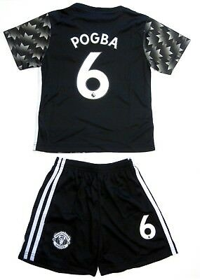 wholesale dealer a6550 a74e2 MANCHESTER UNITED SOCCER Black Away Jersey Shorts Pogba # 6 Uniform Kids  Youth