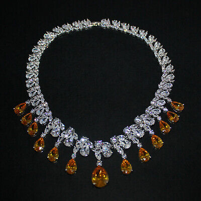Superior Cut Cubic Zirconia Crystal Statement Wedding Prom Party Necklace UK