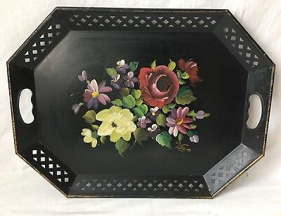 """Vintage Nashco Hand Painted Tole Ware Serving Tray Floral Signed Van 20x15"""""""