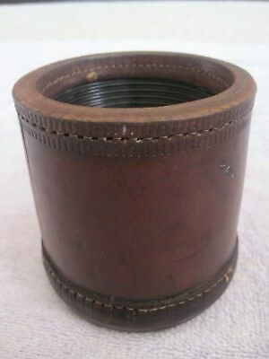 Vintage Antique Leather Stitched Dice Game Shaker Tavern Bar Cup