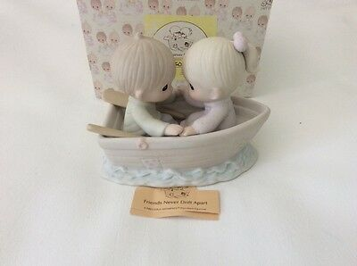 Precious Moments,Boy And Girl In Boat,Friends Never Drift Apart. New in Box