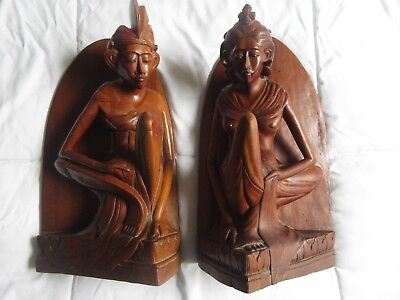 Hand Carved Wood Bookends Klung Kung Man & Women From Bali, Signed Statue