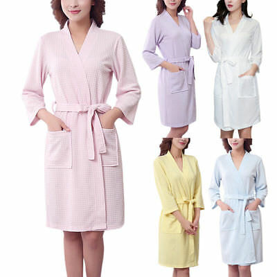 cae22ea5e9 Cotton Ladies Lightweight Summer Waffle Bath Robe Dressing Gown House Coat