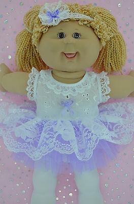 """Play n Wear Doll Clothes For 16"""" Cabbage Patch  LILAC LACE TU TU~TIGHTS~HEADBAND"""