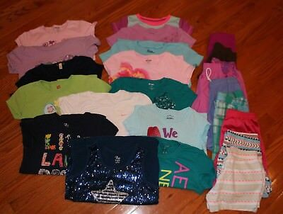 LOT OF 22 GIRLS 10-12-SPRING-SUMMER-JUSTICE Mix of Tops and Shorts-EUC