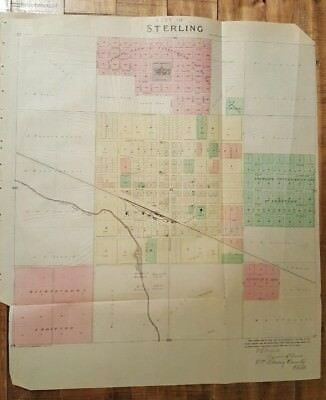 Antique Colored MAP - CITY OF STERLING - RICE COUNTY - 1887 KANSAS ATLAS