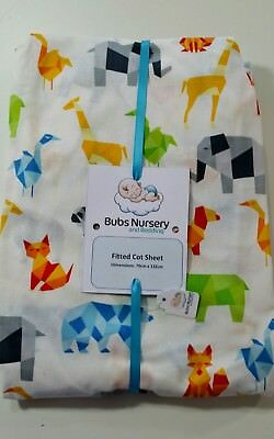 Brand New Cot or toddler bed cotton fitted sheet - 70 x 132cm - Geometric Animal