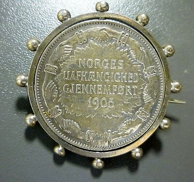 NORWAY 1907 Silver Commemorative 2 Kroner Set In A Pin Scarce!