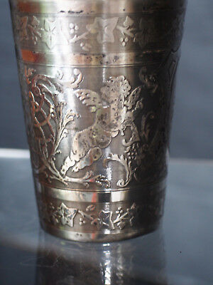 19th c European Silver 800 Putti Cherub Angel Figure Etch Beaker Tumbler Cup 52g