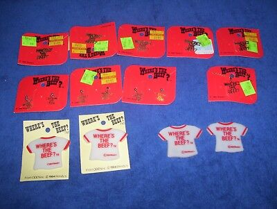 Lot of 5 Vintage 1984 Wendy's Restaurant Pin Where's The Beef Advertising + more