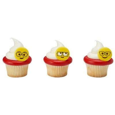 Emoji Cupcake Toppers Rings 24 pieces FREE Expedited Shipping