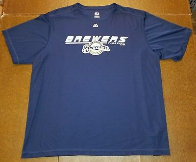 NWOT MLB MILWAUKEE BREWERS Baseball T-SHIRT-2XL Majestic