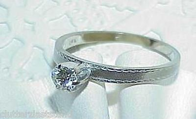 14K .33Ct VS Diamond Solitaire Ring White Gold Sz 7.5 Vintage Estate HIGH END!